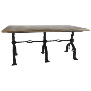 Marble-Top Banker's Table With Wrought Iron Base by Samuel Yellin For Sale