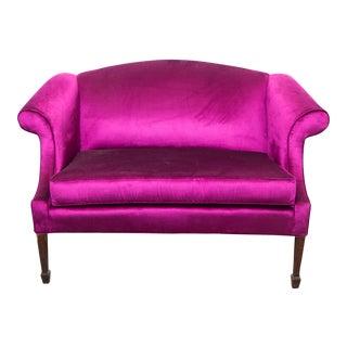 Vintage Velvet Magenta Settee Sofa For Sale