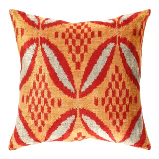 Turkish Hand Woven Silk Velvet Pillow 20'' #Ti 290 For Sale