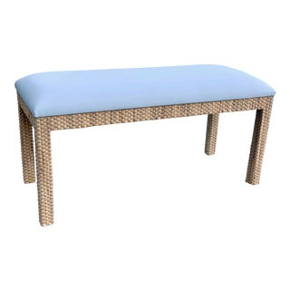 Custom Natural Woven Grass Vanity Bench For Sale