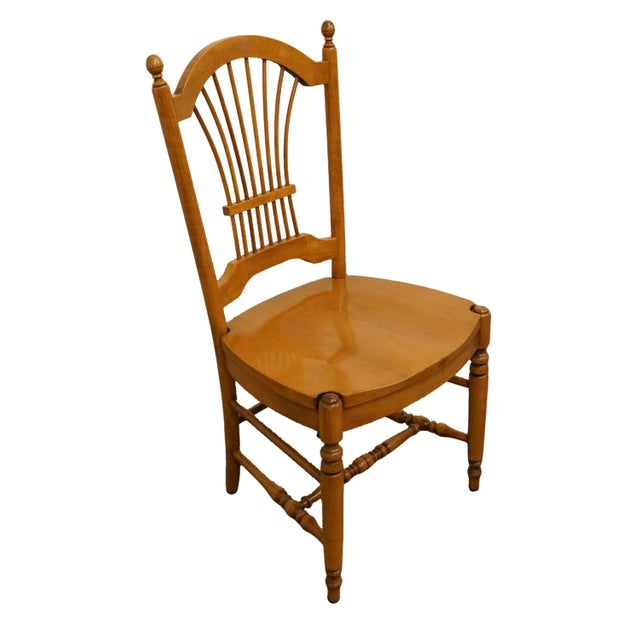 "ETHAN ALLEN Casual Dining Wheat Back Dining Side Chair 16-6502 w. 247 Caramel Finish 39.5"" High 20"" Wide 22"" Deep Seat:..."