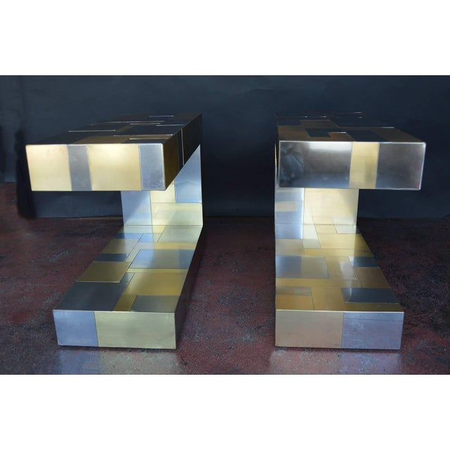 Mid-Century Modern Pair of Paul Evans Cityscape Side Tables For Sale - Image 3 of 9