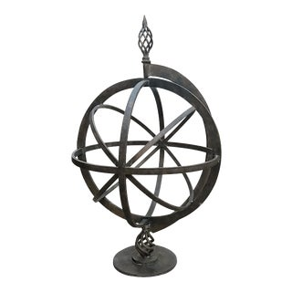 Large Vintage Wrought Iron Globe For Sale