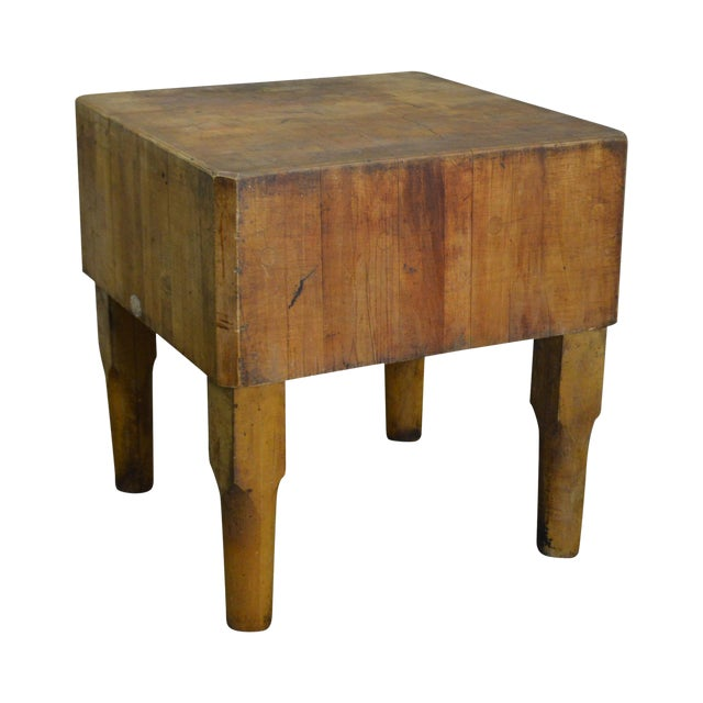Vintage Antique Maple Butcher Block Table by Bally Block Co. For Sale