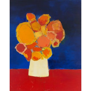 "Bill Tansey ""Red Linen"" Abstract Floral Oil on Canvas For Sale"