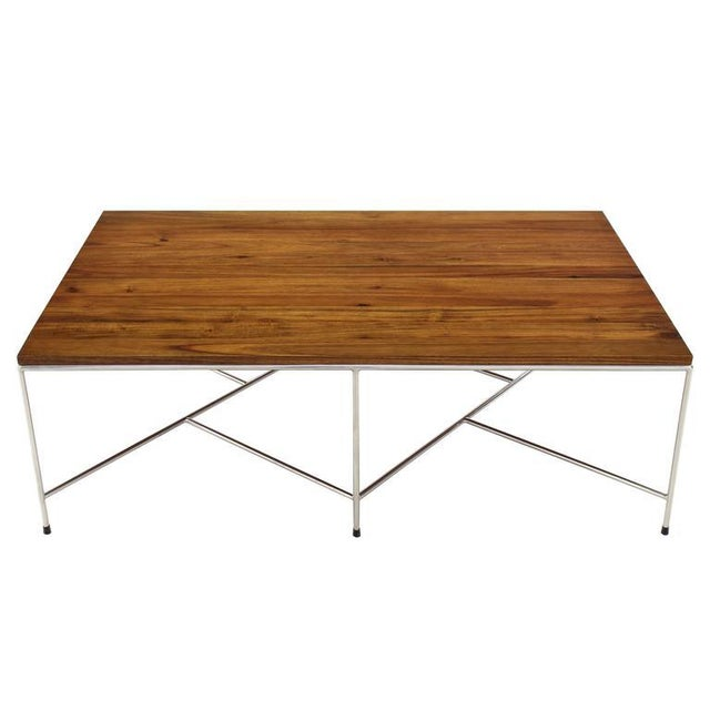 Brown Mid-Century Modern Z Base Stainless Base Wood Top Coffee Table For Sale - Image 8 of 10