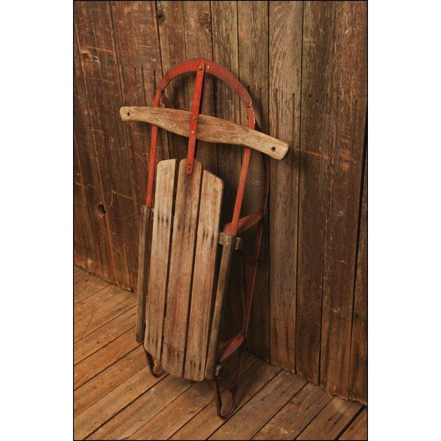 Vintage Weathered Wood & Metal Runner Sled -- Champion - Image 4 of 10