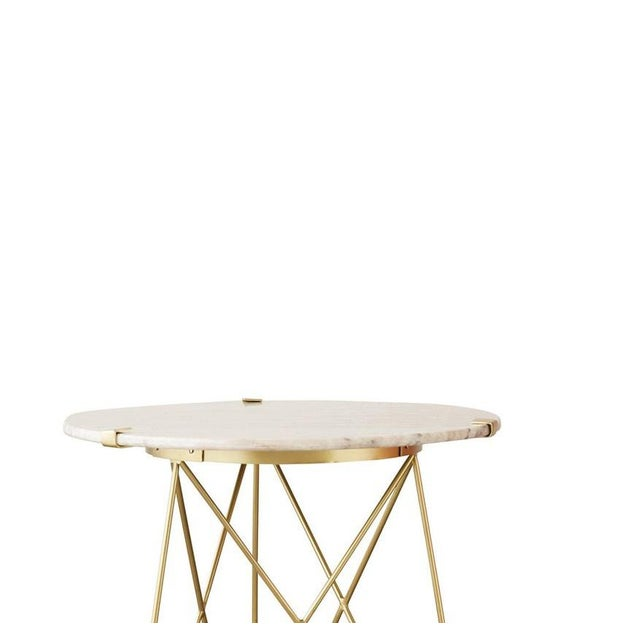 Mid-Century Modern Classic Metal Table With Marble Top For Sale - Image 3 of 4