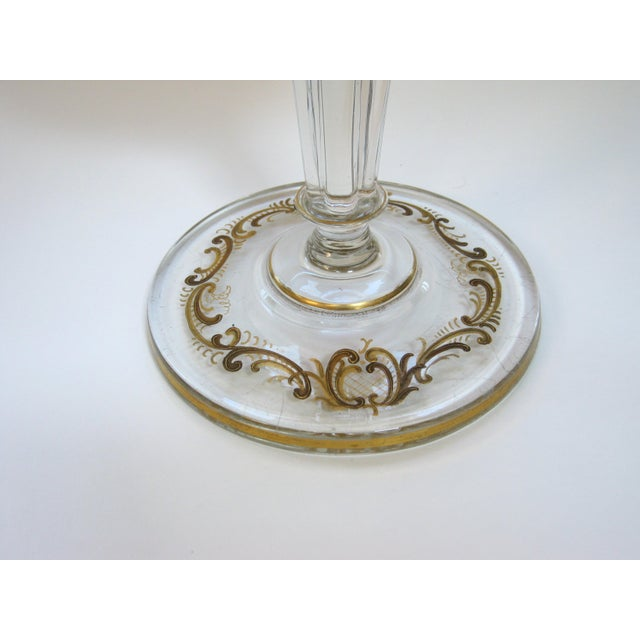 Antique Gold Encrusted Crystal Chalice Vase For Sale In Providence - Image 6 of 7