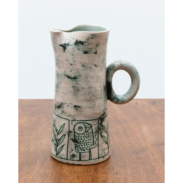 Blue Green Ceramic Pitcher by French Ceramic Artist Jacques Blin, 1950s For Sale - Image 9 of 9