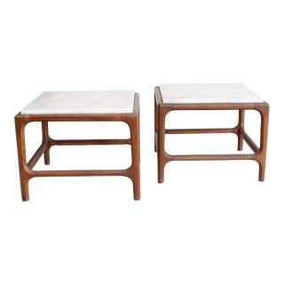 Mid-Century Modern Mahogany and Marble Side Tables - a Pair For Sale
