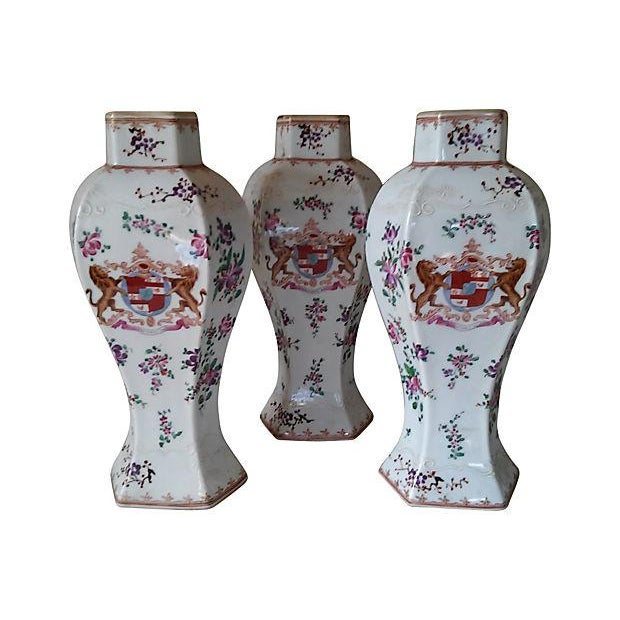 18th Century Antique Samson Armorial Vases - Set of 3 - Image 3 of 6