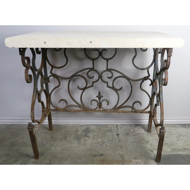 19th C. French Wrought Iron Console For Sale - Image 4 of 12