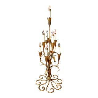 Gilded Ornate Table Top Chandlelier For Sale