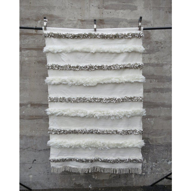 Natural wool, cotton and silver sequins. natural wool, cotton and silver sequins. Detail: Newly made. Each piece is one-...