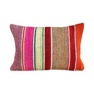 Kim Salmela Boho Chic Striped Peruvian Kilim Lumbar Pillow For Sale