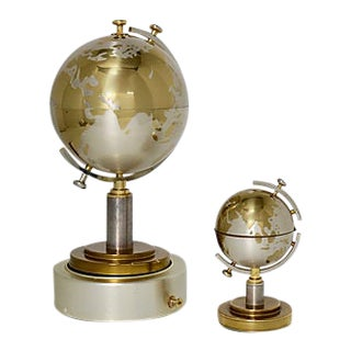 Midcentury Musical Globe Smoking Set - a Pair For Sale