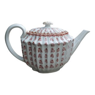1910s Vintage Spode Scrolls and Flowers Ribbed China Tea Pot For Sale