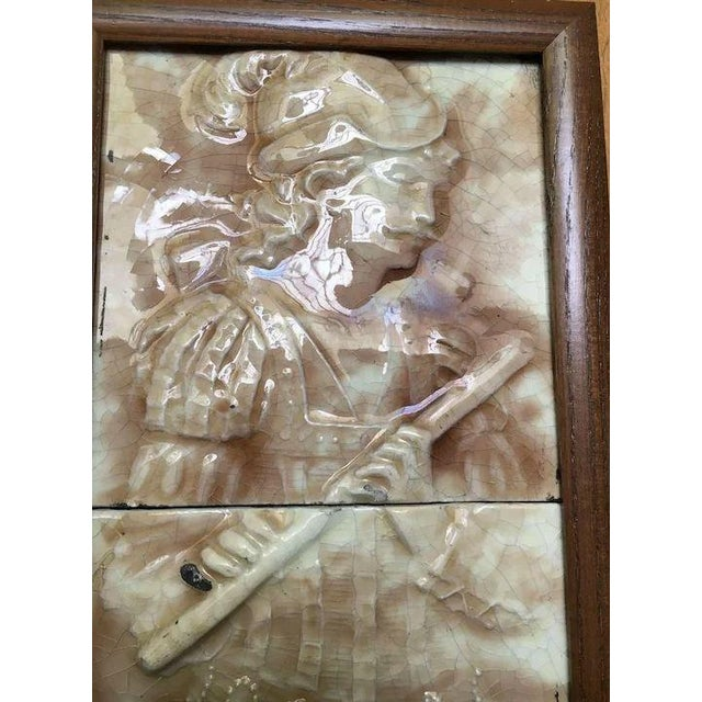 Majolica Majolica Figural Musician Beige & White Tile For Sale - Image 4 of 11