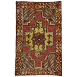 20th Century Turkish Oushak Accent Rug - 3′7″ × 5′8″ For Sale