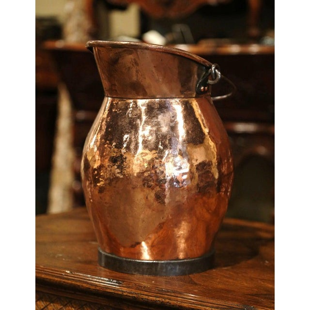 Copper 19th Century French Polished Copper and Iron Decorative Coal Bucket For Sale - Image 8 of 10