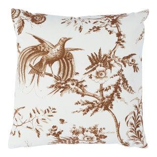 Schumacher Toile De La Prairie Pillow in Brown For Sale