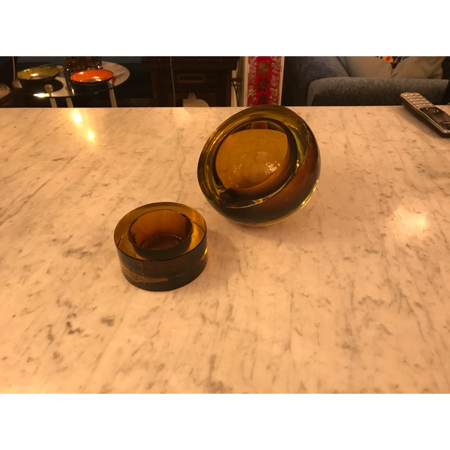 Mid-Century Modern Hand-Blown Art Glass Angled Sphere Ashtray and Cachepot, Mid-Century For Sale - Image 3 of 6