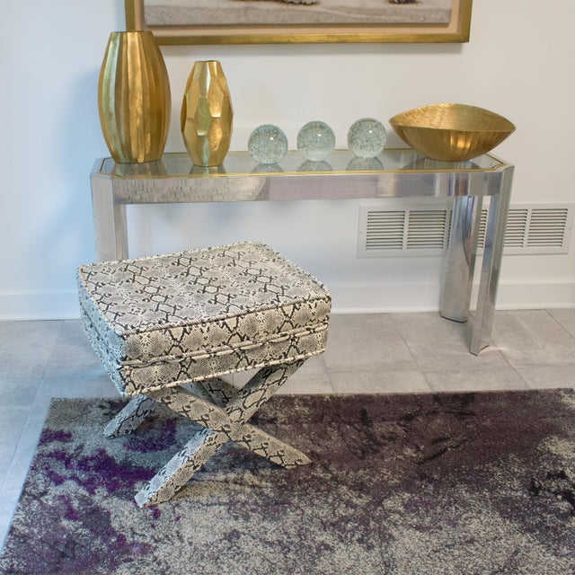 Elegant bench, ottoman, footstool in faux python skin in the manner of the fully upholstered designs by Billy Baldwin and...