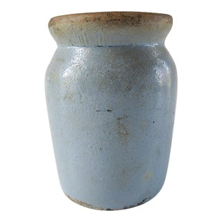 Small Antique Blue Glaze Rustic Storage Jar For Sale