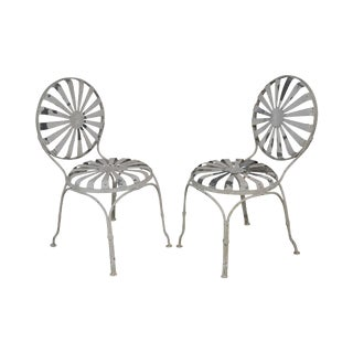 Francois Carre Vintage French Art Deco Iron Pair Sunburst Garden Side Chairs For Sale