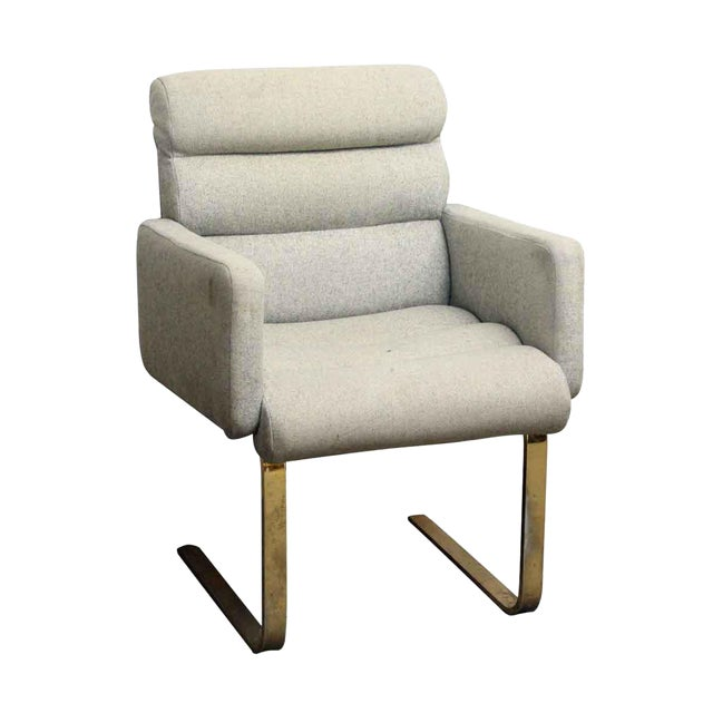 Modern Cream Chair With Two Metal Legs - Image 1 of 5