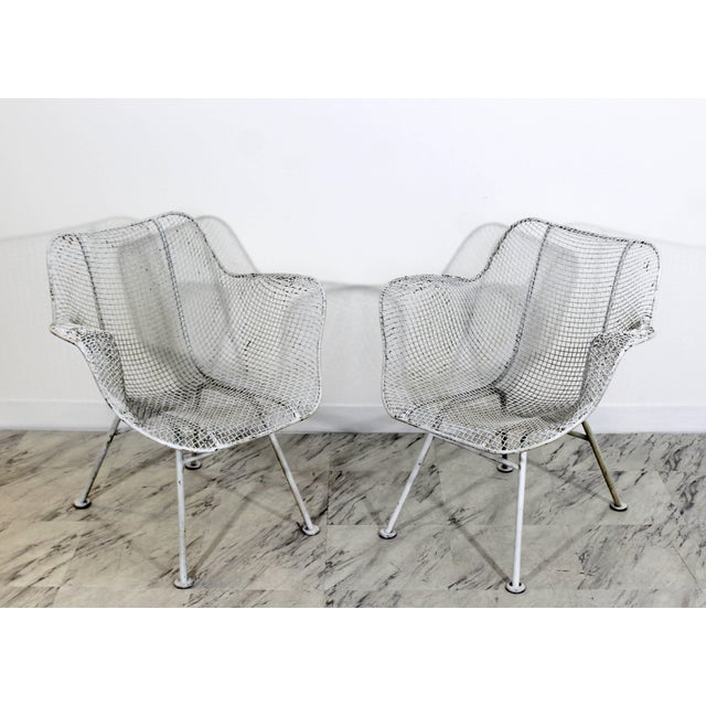Metal Mid-Century Modern Russell Woodard Sculptura Outdoor Patio Armchairs - a Pair For Sale - Image 7 of 7
