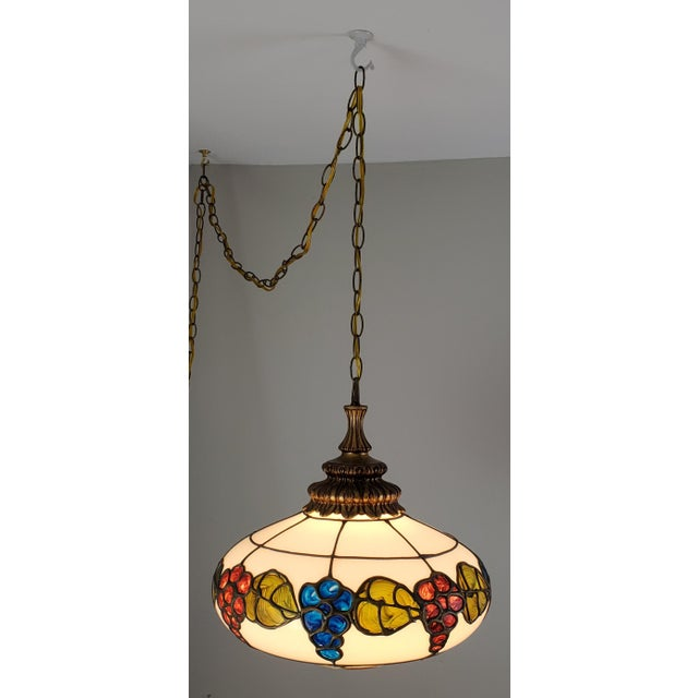 Metal Mid-Century Ceiling Swag Lamp Hand Painted Glass Metal Overlay White Grape Leaves For Sale - Image 7 of 11