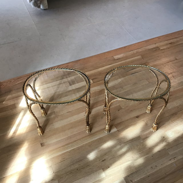Oval Gilt Rope & Tassel Side Tables - A Pair - Image 8 of 8