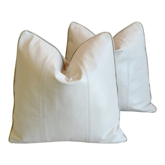 """Creamy Italian Tanned Leather Feather/Down Pillows 21"""" Square - Pair For Sale"""