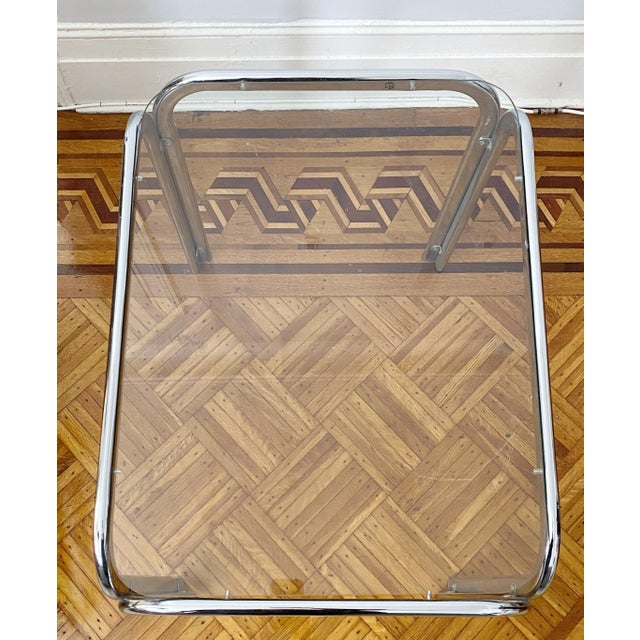 Milo Baughman Vintage 1970s Modern Milo Baughman Style Tubular Chrome Side Table For Sale - Image 4 of 9