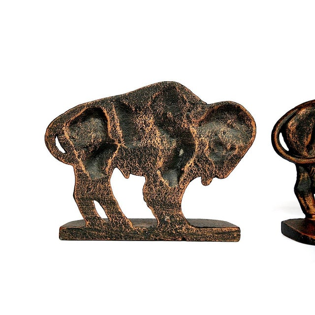 Metal Vintage Bison Buffalo Bookends - a Pair For Sale - Image 7 of 11