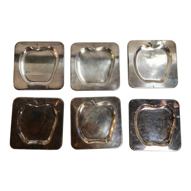 1970s Vintage Italian Chrome Square Cocktail Plates - Set of 6 For Sale