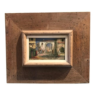 "1930s ""Marrakesh, Morroco"" Framed Orientalist Oil on Wood Painting For Sale"