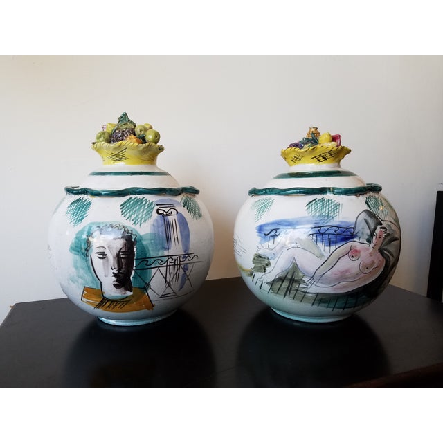 Italian Majolica Bowls With Lids - A Pair - Image 2 of 11