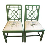 Image of Chinese Chippendale Style Painted Chairs- A Pair For Sale