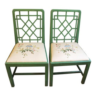 Chinese Chippendale Style Painted Chairs- A Pair For Sale