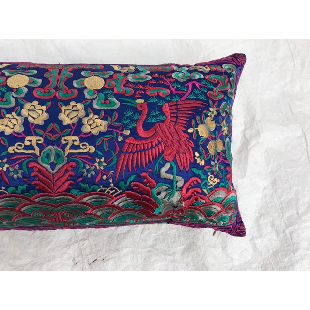 Chinese Chinoiserie Pink Silk Crane Embroidered Boudoir Pillow - Image 4 of 8