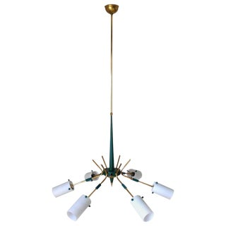 Italian Frosted Murano Cones Chandelier by Stilnovo For Sale
