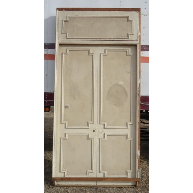 Antique White Geometric Design & Solid Header Transom Doors - A Pair - Image 10 of 10