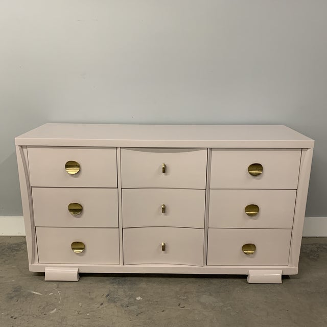 Vintage Mid Century painted oak Dresser. Original unique highly polished brass disc hardware. Custom painted in a high...