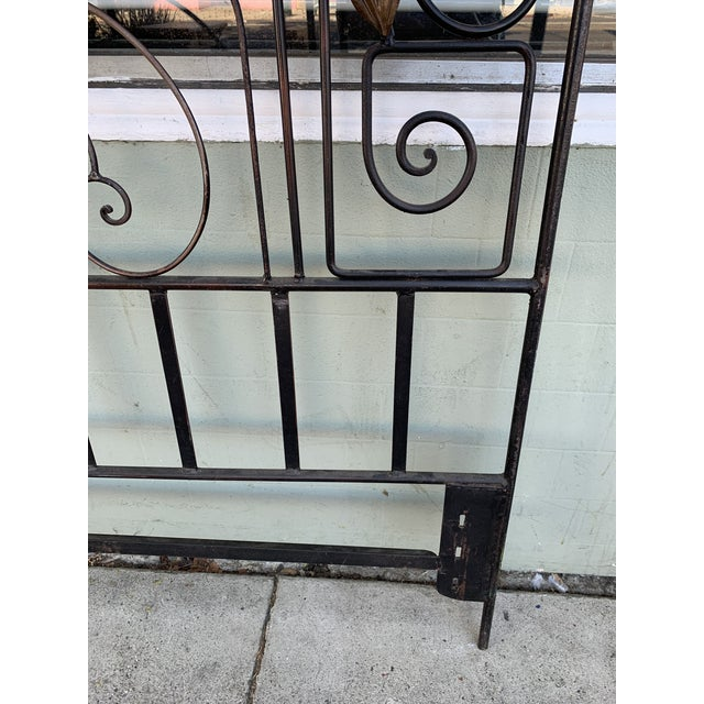 Vintage Hollywood Regency Wrought Iron and Wood Accent Headboard For Sale - Image 10 of 11