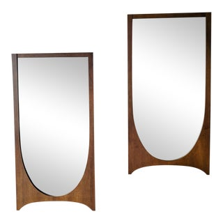 Pair of Vintage Broyhill Brasilia Sculpted Walnut Mirrors