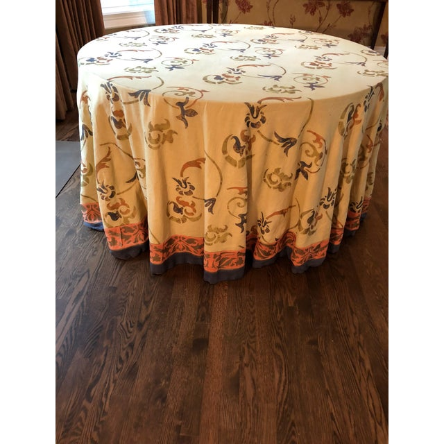 """Custom Made 54"""" Round Dining Table With Custom Table Cloth For Sale - Image 9 of 9"""