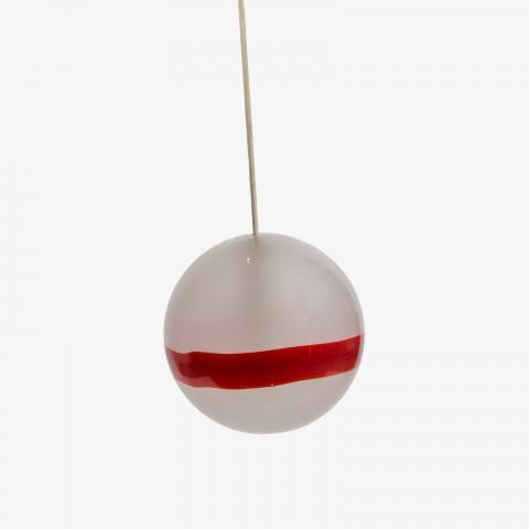 Hand blown glass pendantwith red stripe, mfg. Venini.